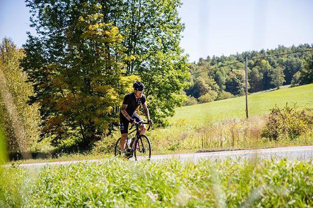 NTSQ Velo ambassador @andrew.ference pushing it on the Vermont backroads. #ridestayeat
