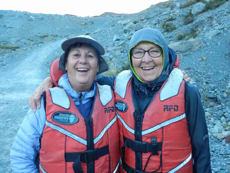 Two friends at the Tasman Glacier
