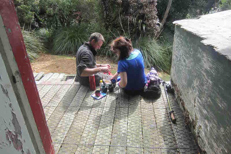Tea for two at Herepai hut. Tararua range