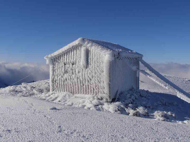 Syme hut after a storm