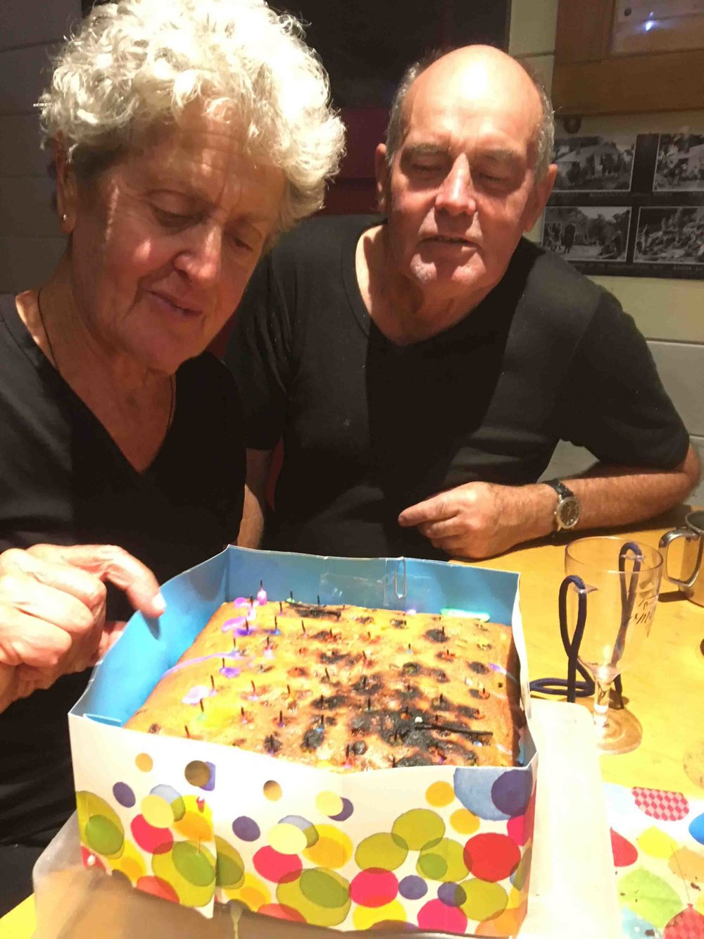 Margret McKinnon and Brian sixtus with the 60th Birthday Cake for Mangaturuturu Hut