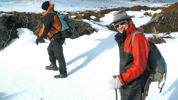 Giane: master tramper, Tom Luff (right) is in his element during a winter trip heading across country to Mangaehuehu Hut in Tongariro National park.
