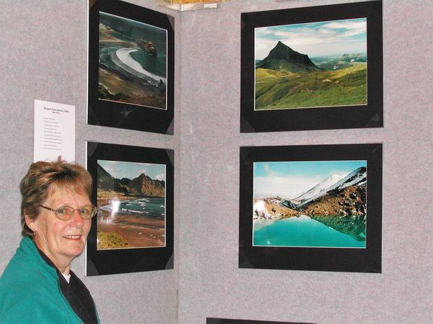 The late Margaret Walford with some of the set of landscapes that gained her licentiateship of the photographic society of NZ