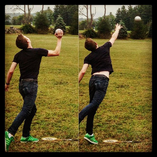 "Trident's Artistic director and Countertenor Tim ""hardball"" Keeler showing off his finesse during fall training!"