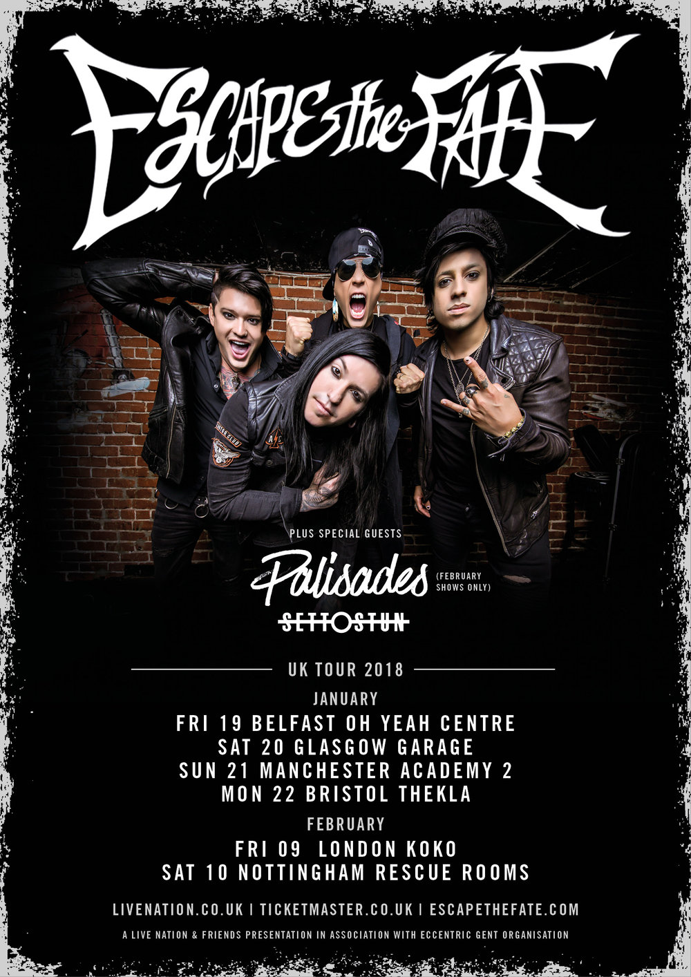 Escape The Fate UK tour Dates 2018