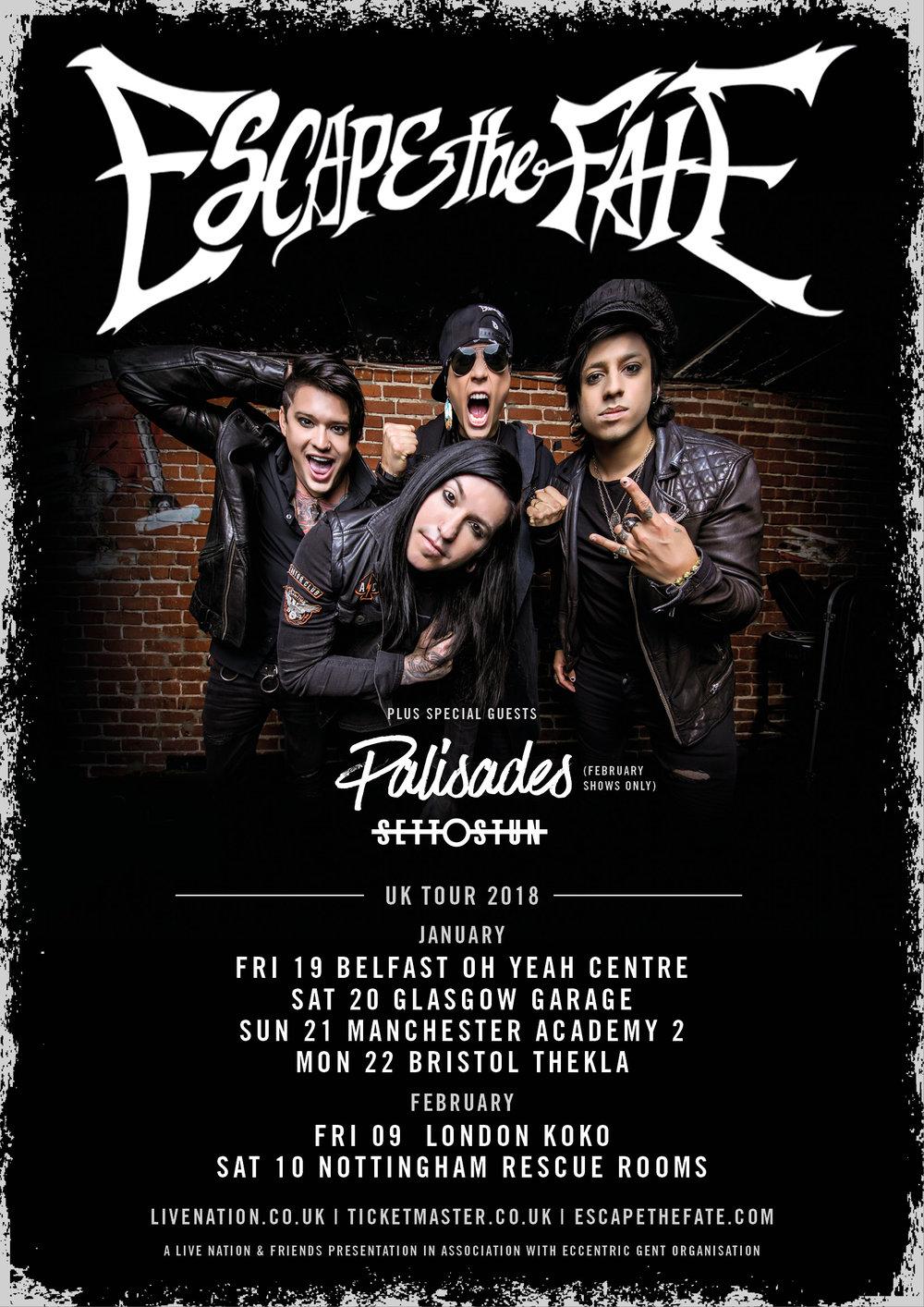 Escape The Fate UK tour Dates 2018