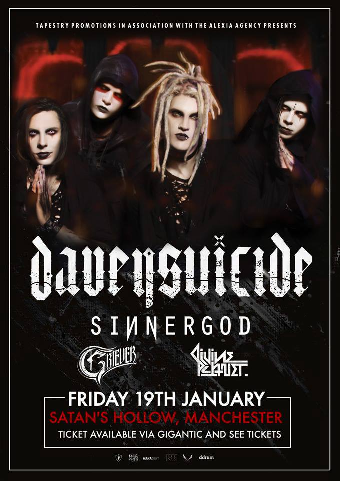 Davey Suicide t Satans Hollow in Manchester on January 19th 2018 on their UK Tour.