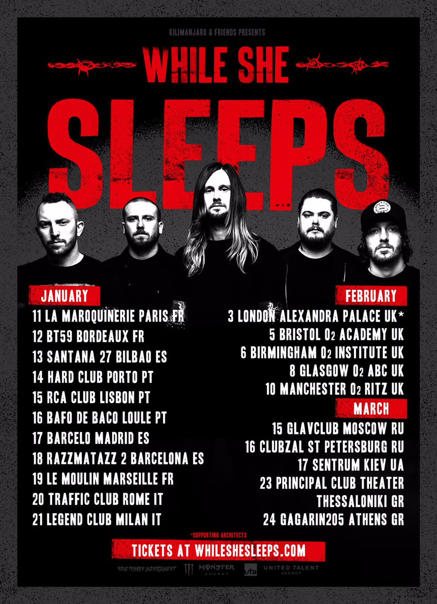 While She Sleeps at the O2 Ritz in Manchester on February 10th 2018. Tour Dates Poster