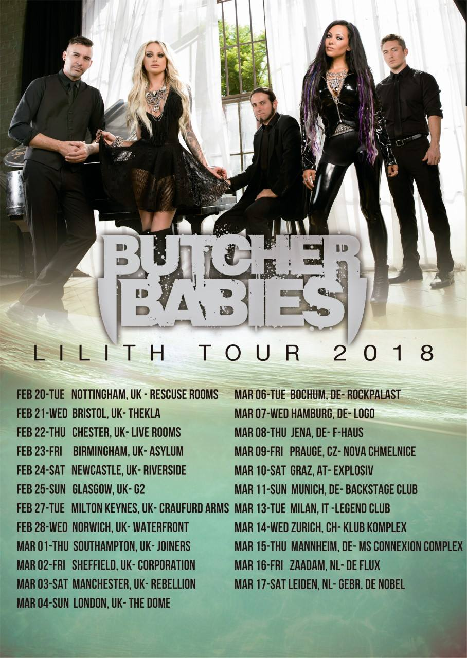 Butcher Babies Lillith 2018 Tour dates, UK and Europe.