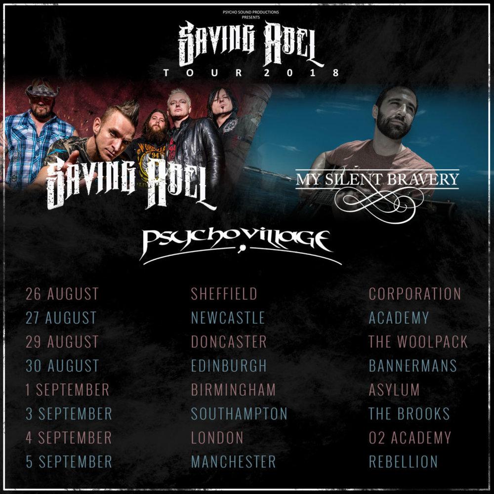 Saving Abel Psycho Cillage Silent Bravery UK tour 2018.jpg