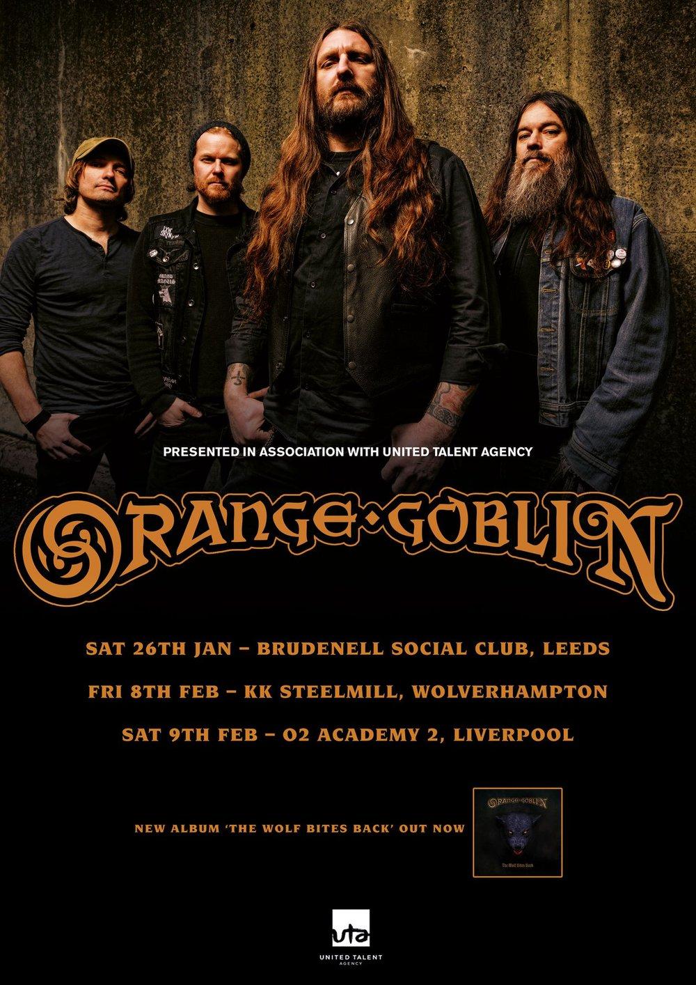 Orange Goblin UK shows poster dates 2019.