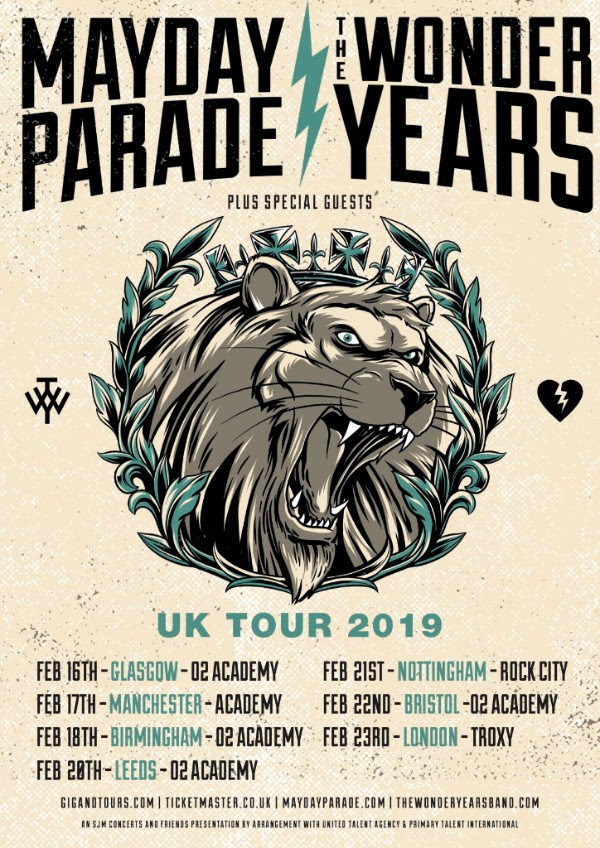 Mayday Parade Wonder Years Tour Dates 2019 UK