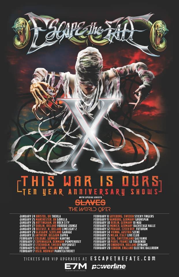 Escape The Fate 2019 Tour Dates Poster