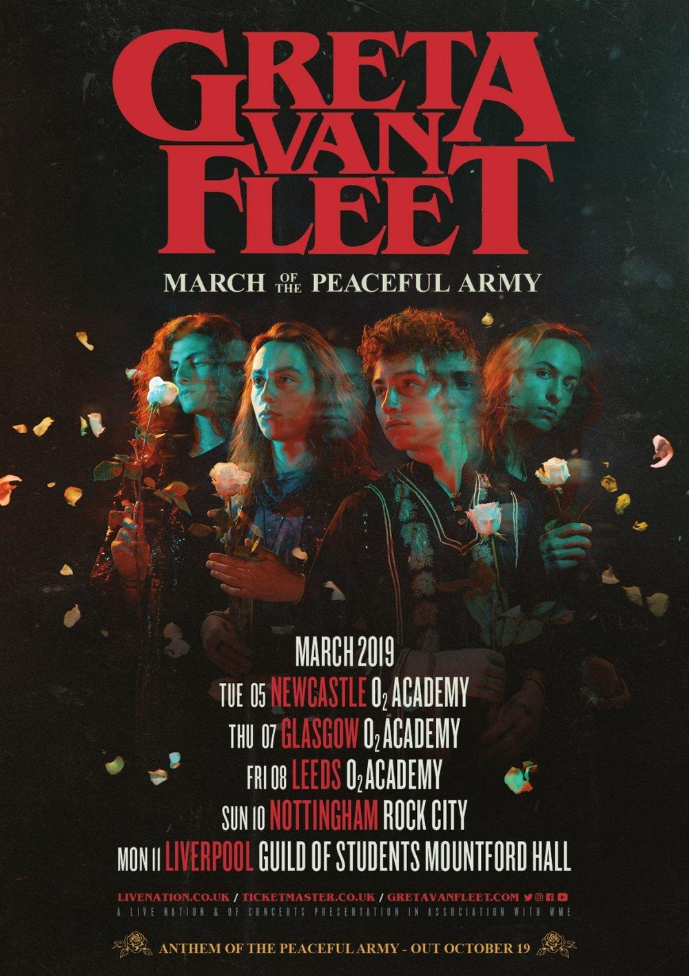 Greta Van Fleet UK Tour Dates 2019 Poster