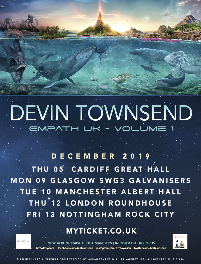 Devin Townsend UK tour 2019 Dates Poster