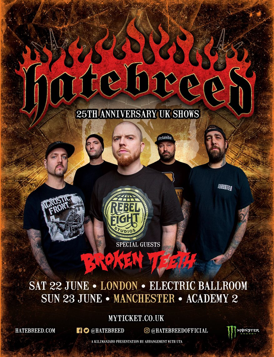 Hatebreed Manchester UK tour dates poster 2019