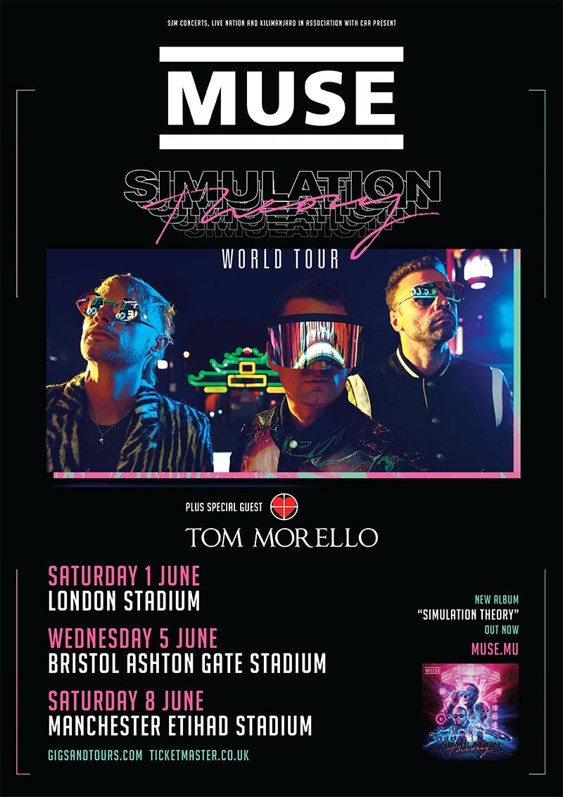 Muse and Tom Morello 2019 UK Tour Dates Poster