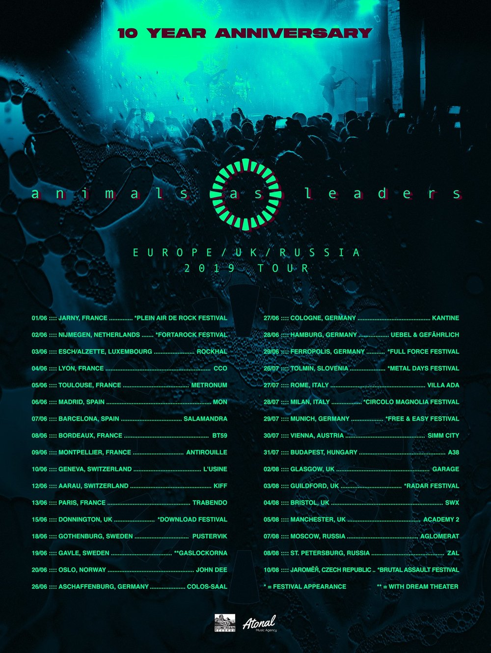 Animals As Leaders Tour dates 2019 Poster
