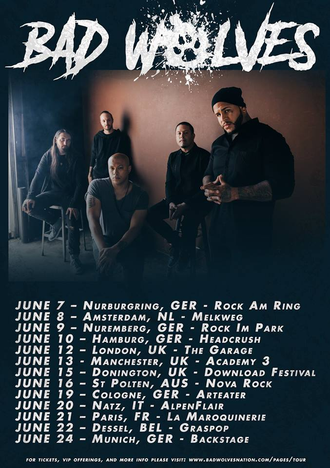 Bad Wolves 2019 Tour Dates Poster