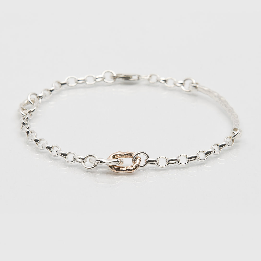 Martina Hamilton Island Link Bracelet. Sterling silver chain and charms with rose gold link.