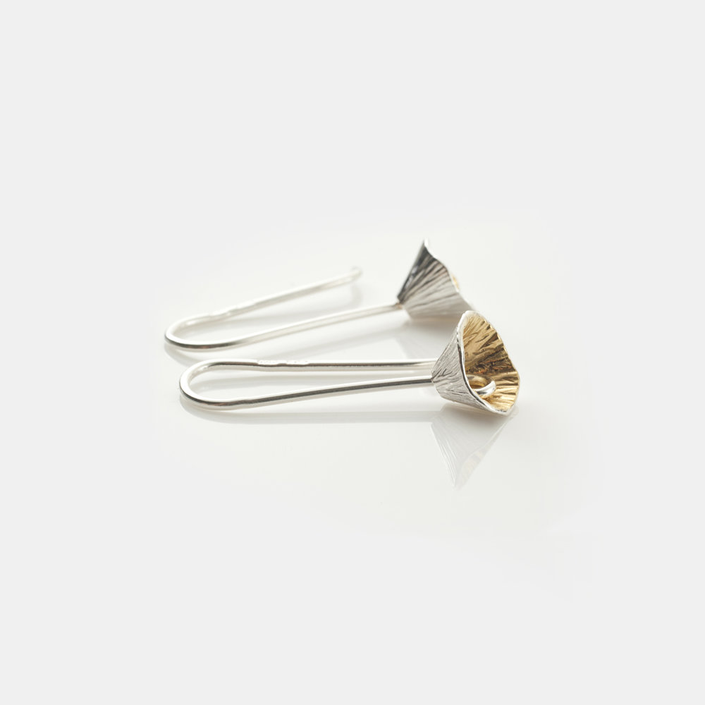 Martina Hamilton Shell Cone long drop earrings. Sterling silver hand plated with 22 carat gold.