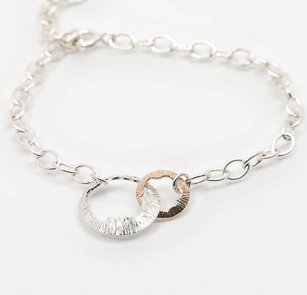 Martina Hamilton Shell Bracelet. Sterling silver and rose gold.