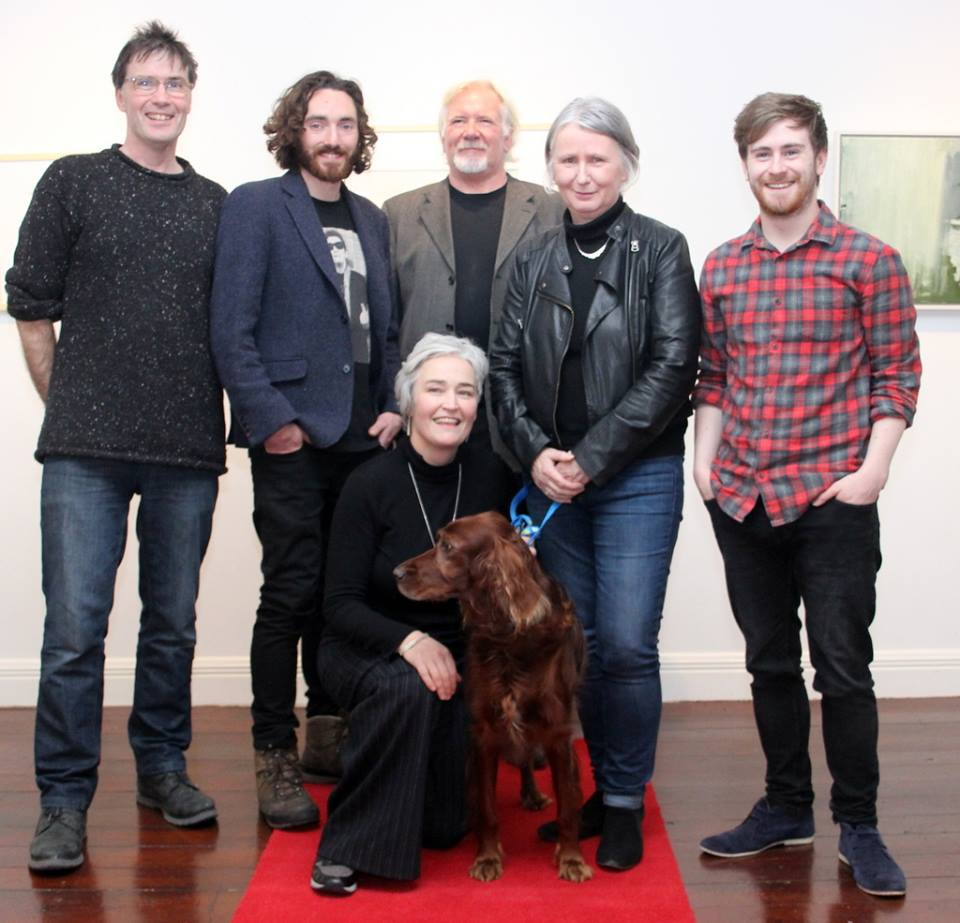 """My Island Links""   L- R.Malcolm Hamilton (Backing Music Composer / Performance) Peter Martin (Cinematography), David Lawlor (Backing Music Composer) Susan O Keeffe, (Film Director & Script). Luke Devaney / The Blue Room Recording Studio (Sound recording / Music Recording & Music Arrangement) and front row.... Martina and Blue the two leading ladies, stars of the show."