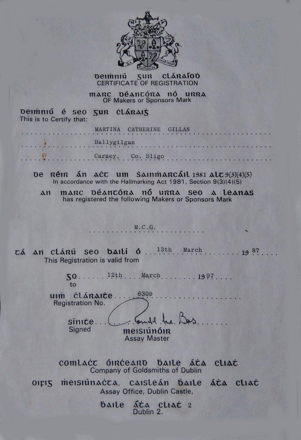 First Assay Office Cert from 1987