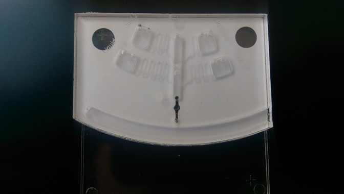 Centrifugal microfluidic device milled on Roland