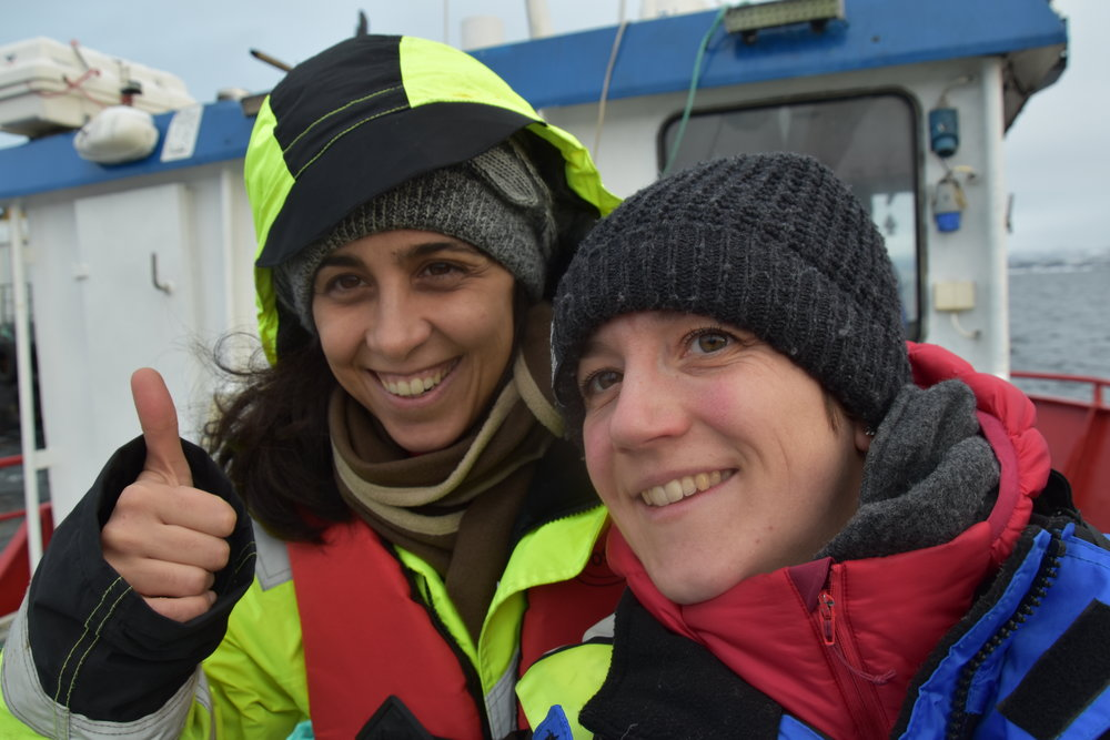 Fishency CEO Flavie Gohin (right) & R&D Manager Emek Seyrek out on the field