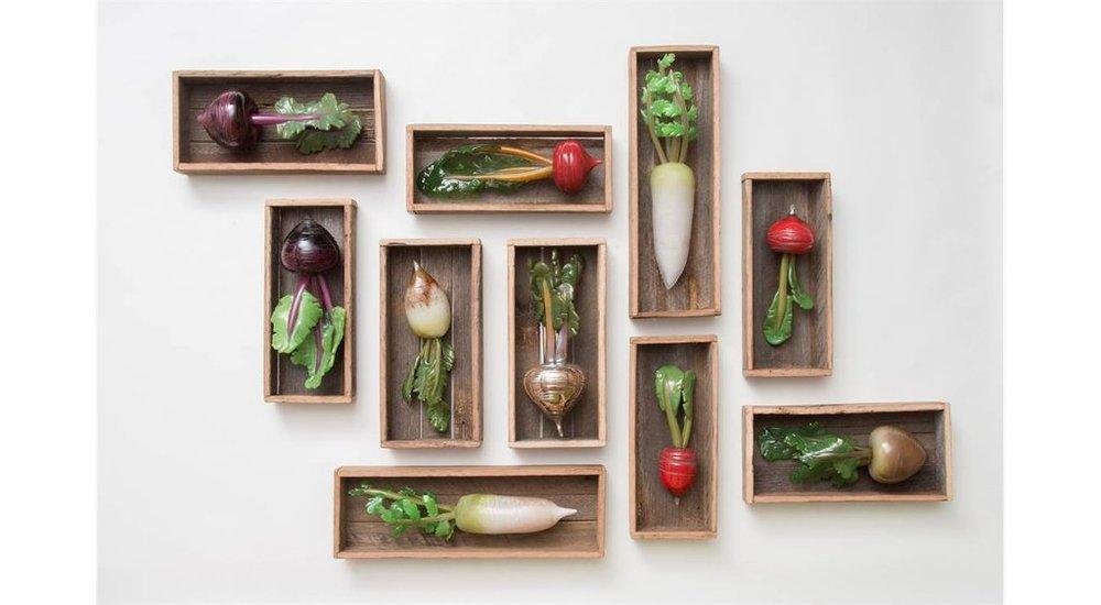 Amanda Dziedzic, A Bumper Crop, hot sculpted glass, reclaimed timber