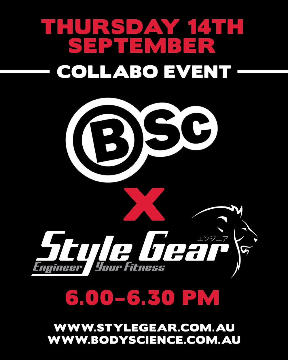 BSC Collabo Event - We had another special night at Jetts hosted by Style Gear on Thursday 14th September. We were joined by BSC with some great giveaways. Plus a free sampling hydration station! We had an awesome group training session, hosted by Mai. A Big thanks to everyone who came along and worked so hard. Plus a special thanks to BSC for helping us to put on such great collaboration events. We look forward to seeing you at the next one. Stay up-to-date on all events by following us on instagram @stylegear.com.auSpots are always limited so please contact Mai and book your spot to join us on the next event.