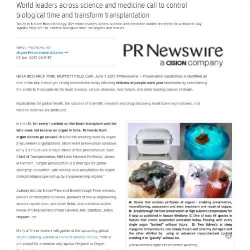 PR Newswire Story:  World leaders across science and medicine call to control biological time and transform transplantation. -
