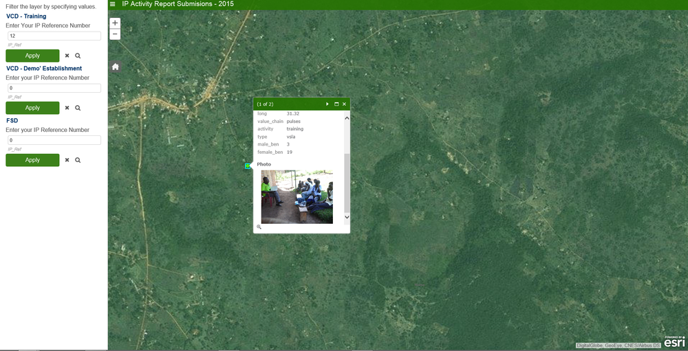 Users can click on a point in the map to see details on activities implemented by farmers organisations.