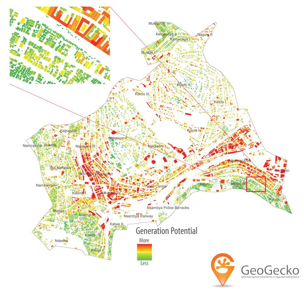 A GIS analysis of the solar potential of each building in central division of Kampala
