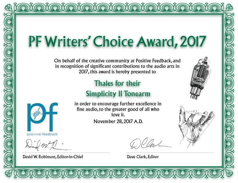 Simplicity II Tonearm - Award 2017