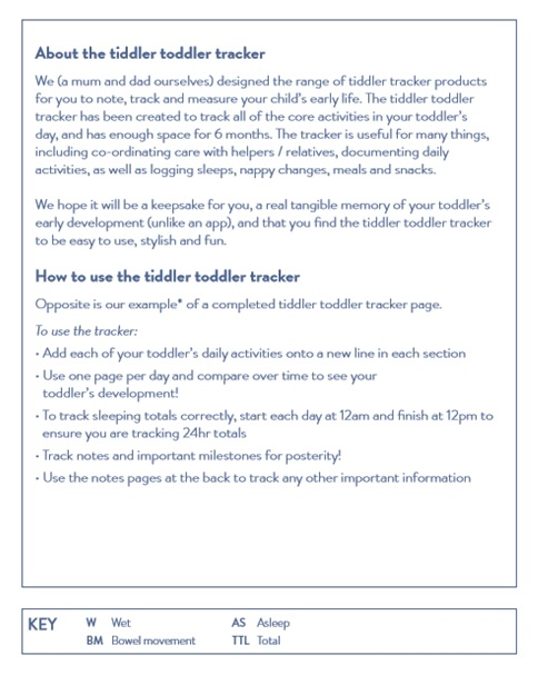 tiddler toddler tracker - User-friendly, functional format makes tracking your little ones daily feeds, sleeps, activities and events quick and uncomplicated