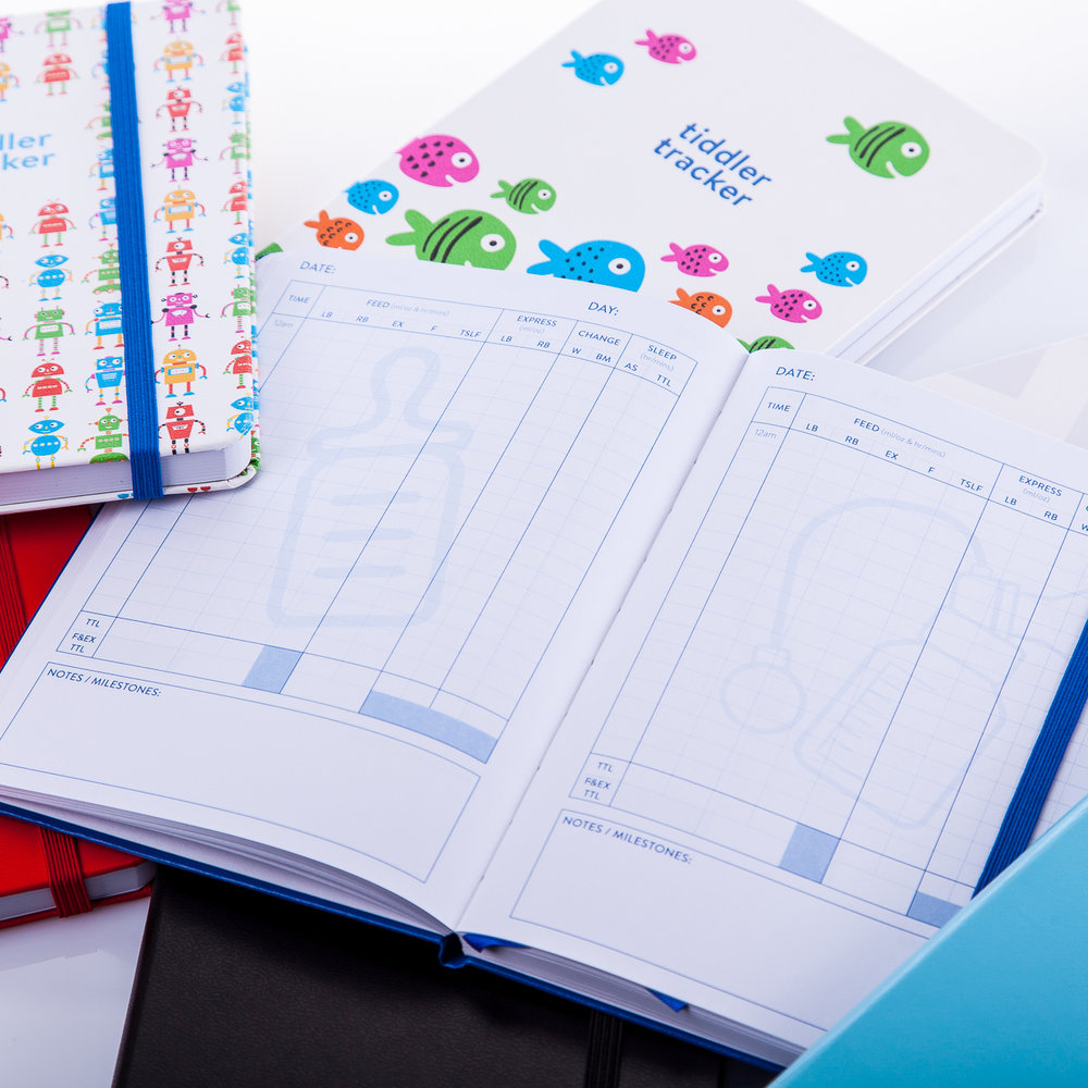 The tiddler tracker series from tiddlers & nippers. A range of stylish, high quality journals for tracking your little one's daily feed, sleep and change patterns. Supporting you through every stage of their development