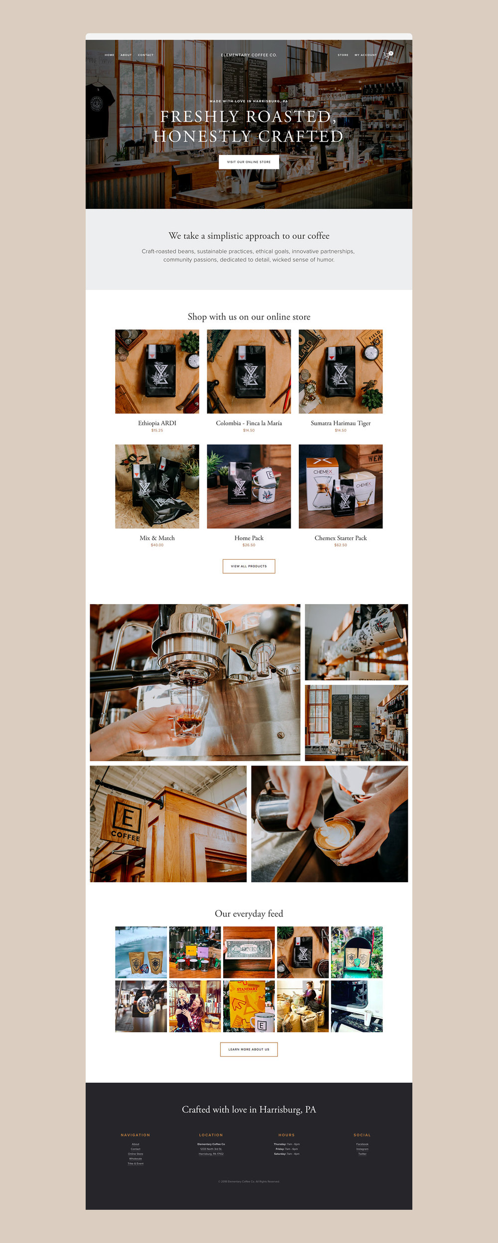 Squarespace Coffee Shop Website Screenshot 1