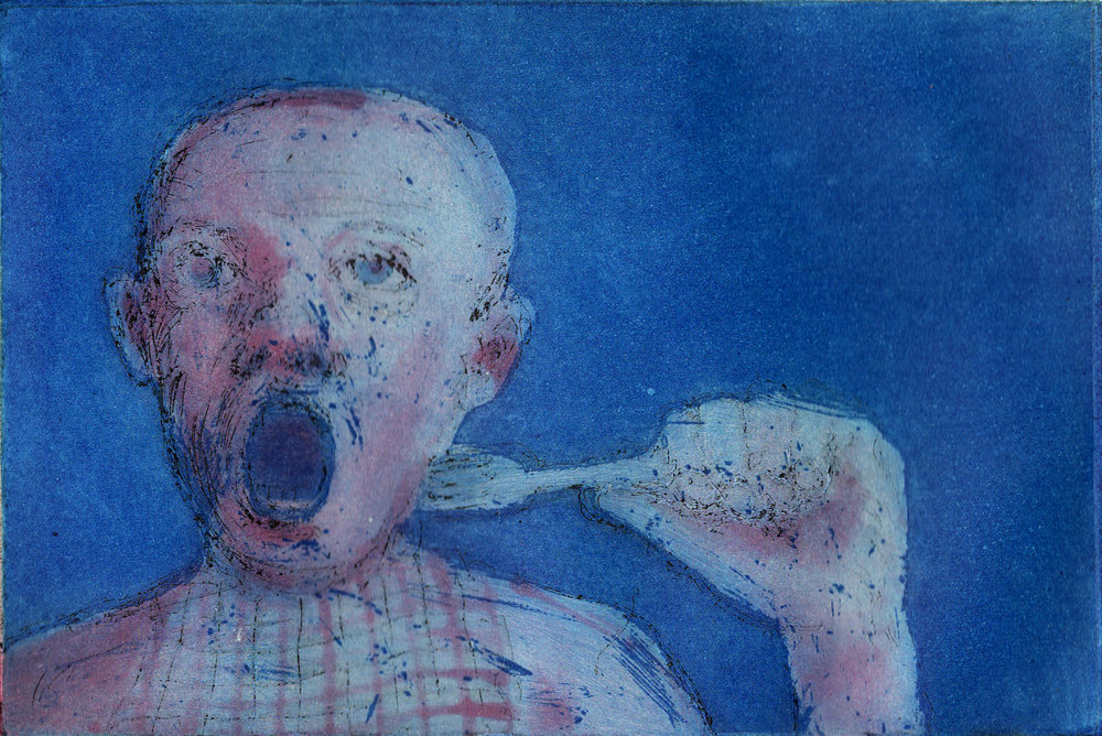 Hungry Boy, Coloured Etching