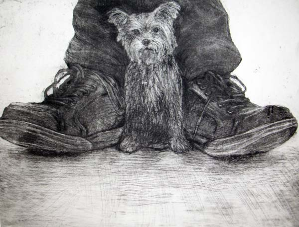 Dog and Shoes, Etching