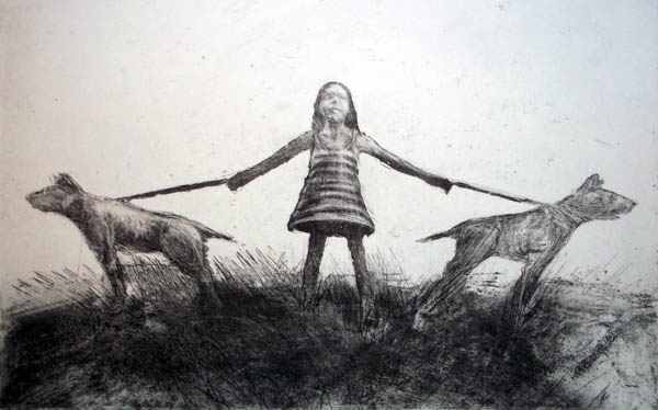 Girl and Two Dogs, Etching
