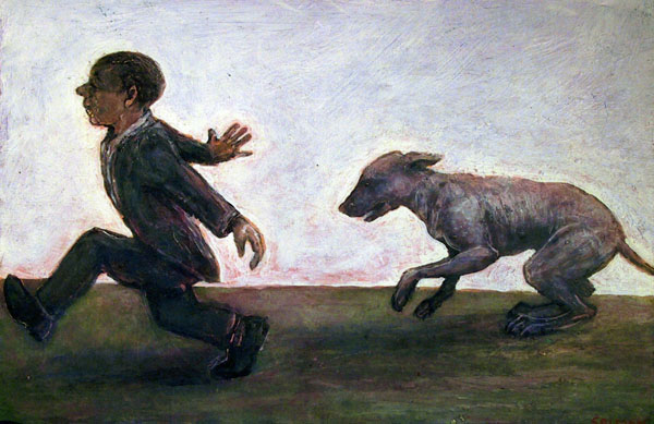 Dog Chasing Man