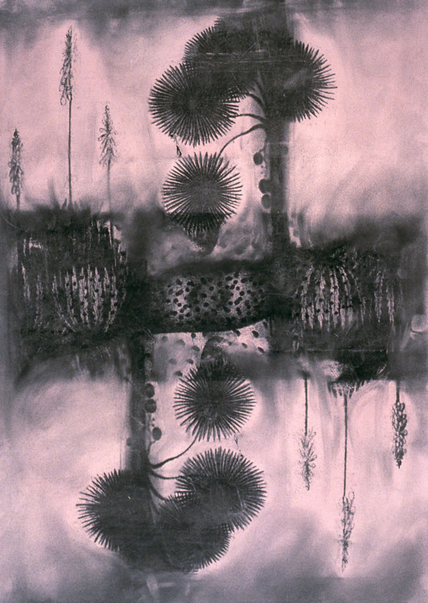 """Vapor, 3""  25 x 17in.  Montage, Charcoal  2003"