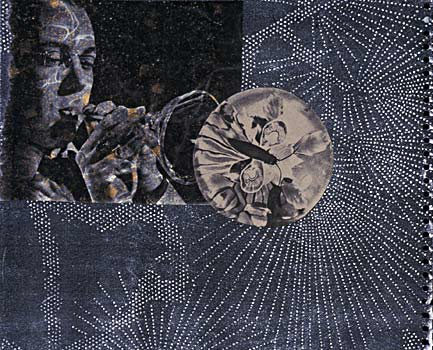 """Fingerprint, 3""  10 x 13 in.  Collage  2000"