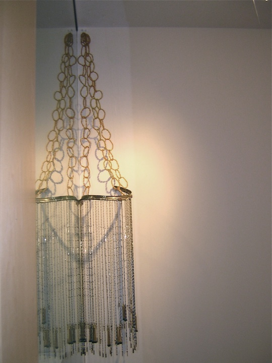 """Blue You""  84 x 24 x 20in.  Glass Beads, Wire, Found Objects, Chains"