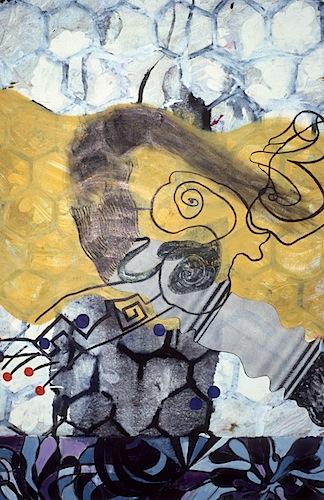 """Flip Zone""  22 x 30in.  image 18 x 22in.  Monotype, Chine colle, Hand Painting  2005"