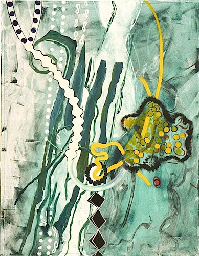 """Spread""  30 x 40in.  image 30 x 16in.  Monotype, Chine colle, Hand Painting  2006"