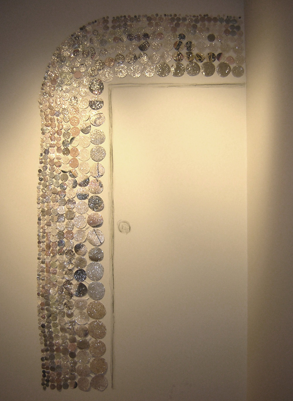 Curve   Installation, Oresman Gallery, Smith College Museum of Art  cut paper, mica, acrylic paint  2004