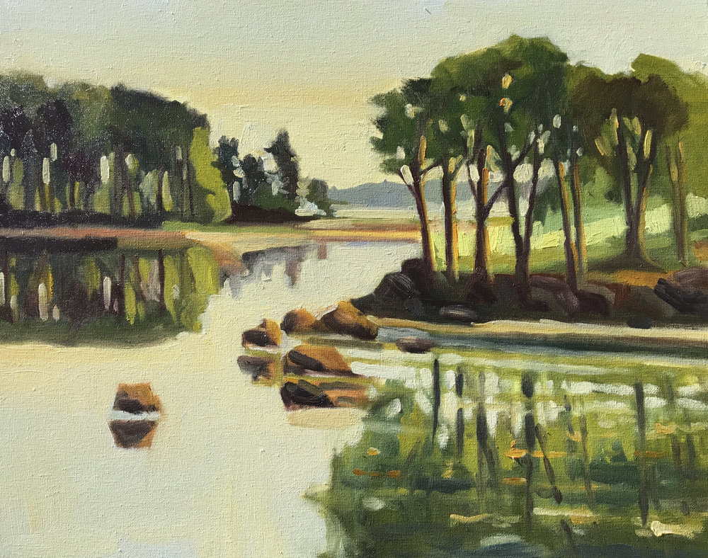 Creek Farm, oils, 16 x 20